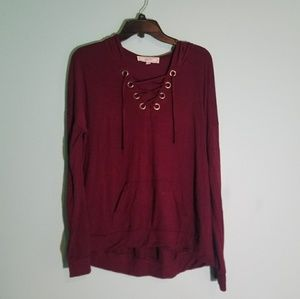 Maroon Lace Up Thin Hoodie